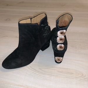 Franco Sarto Olympia suede embroidered ankle boots